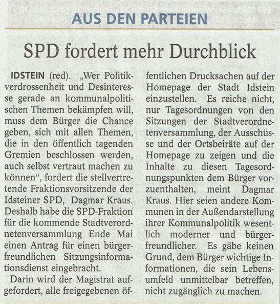 SPD fordert mehr Duchblick